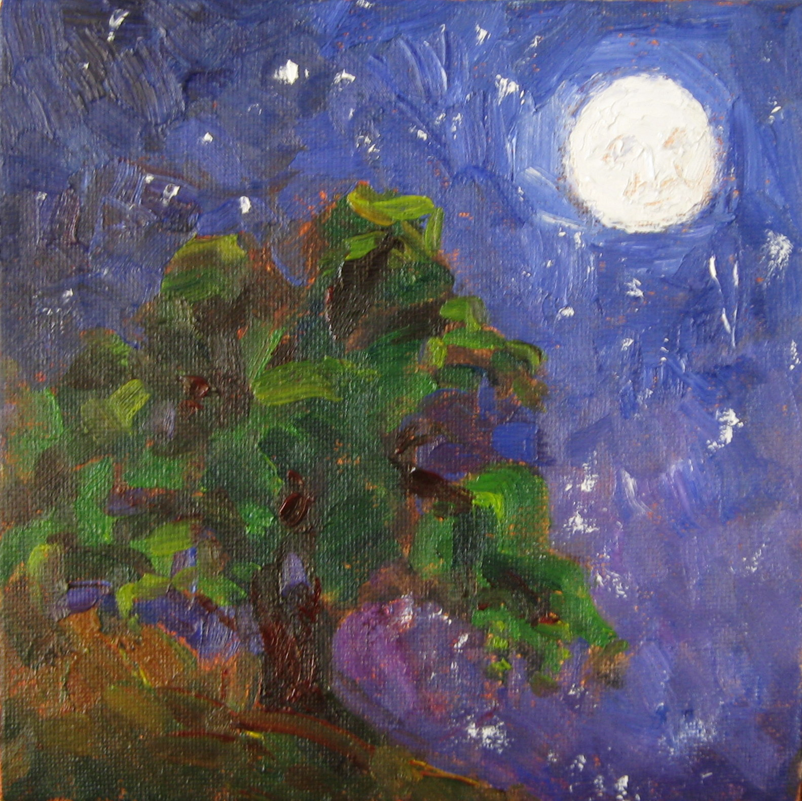 "Moon and Oak, oil painting by Silvia Trujillo Art. © ""Copyright"" 2013 Silvia Trujillo Art"