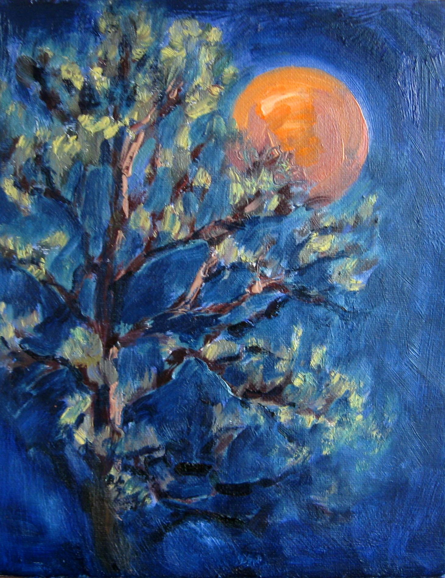 "Lunar Phase, painting of an orange moon with tree by Silvia Trujillo. © ""Copyright"" 2014 Silvia Trujillo Art"