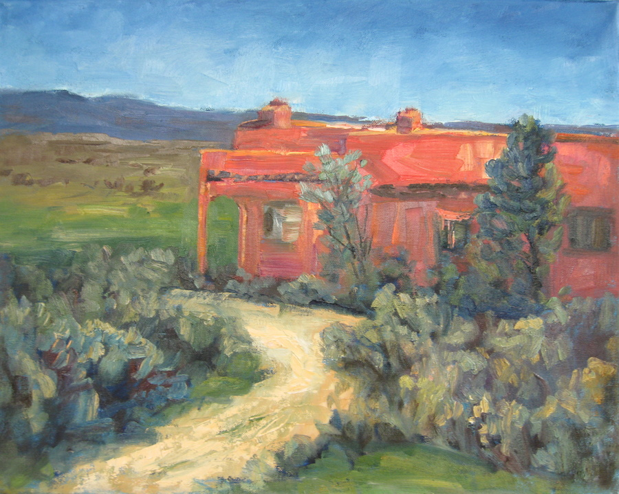 "Dwelling, traditional landscape painting in oil with terra cotta adoba house in a New Mexico landscape by artist Silvia Trujillo, Florence, Oregon.© ""Copyright"" 2014 Silvia Trujillo Art"